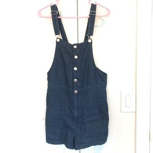 H&M Dark Wash Chambray Overall Shorts 10
